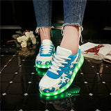 Men adult Fashion Led Luminous Shoes 2016 Top Quality LED Lights USB charging Colorful Shoes Lovers Casual Flash Shoes