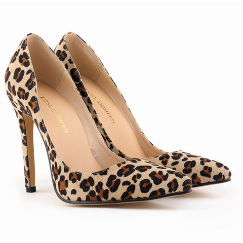 11cm Sexy Stiletto Women Pumps Leopard Color Pointed Toe Lady's Shoes EUR 42 Free Shipping Classic Design Club Hot Shoes