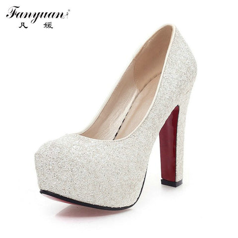 2016 Women High Heels  Wedding Shoes Lady  Platforms Silver Glitter Rhinestone Bridal Shoes Square High  Heel Party Pump