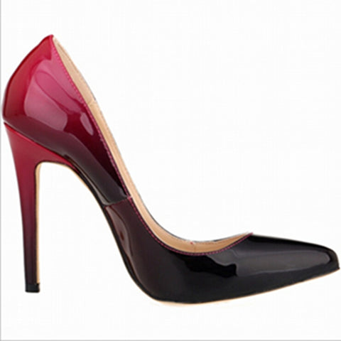 Brand high heels patent leather women pumps pointed toe sexy ladies stiletto shoes woman plus size 35-42