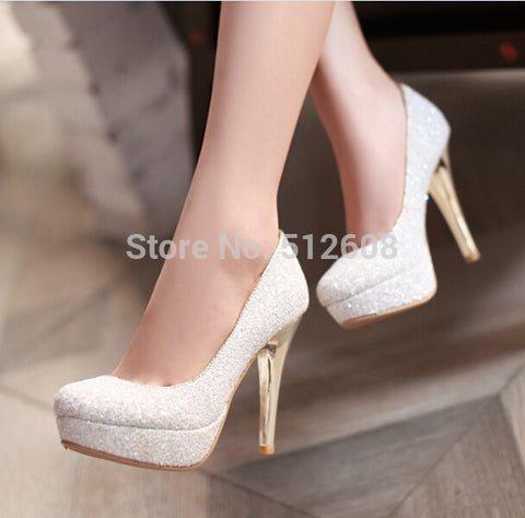 Glittering Fashion sexy party high heel summer women Pumps Wedding shoes lady Pump spool heels black white gold plus size