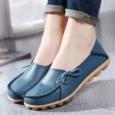 Genuine Leather Women Flats Shoe Fashion Casual Lace-up Soft Loafers Spring Autumn Moccasins Female Driving Shoes