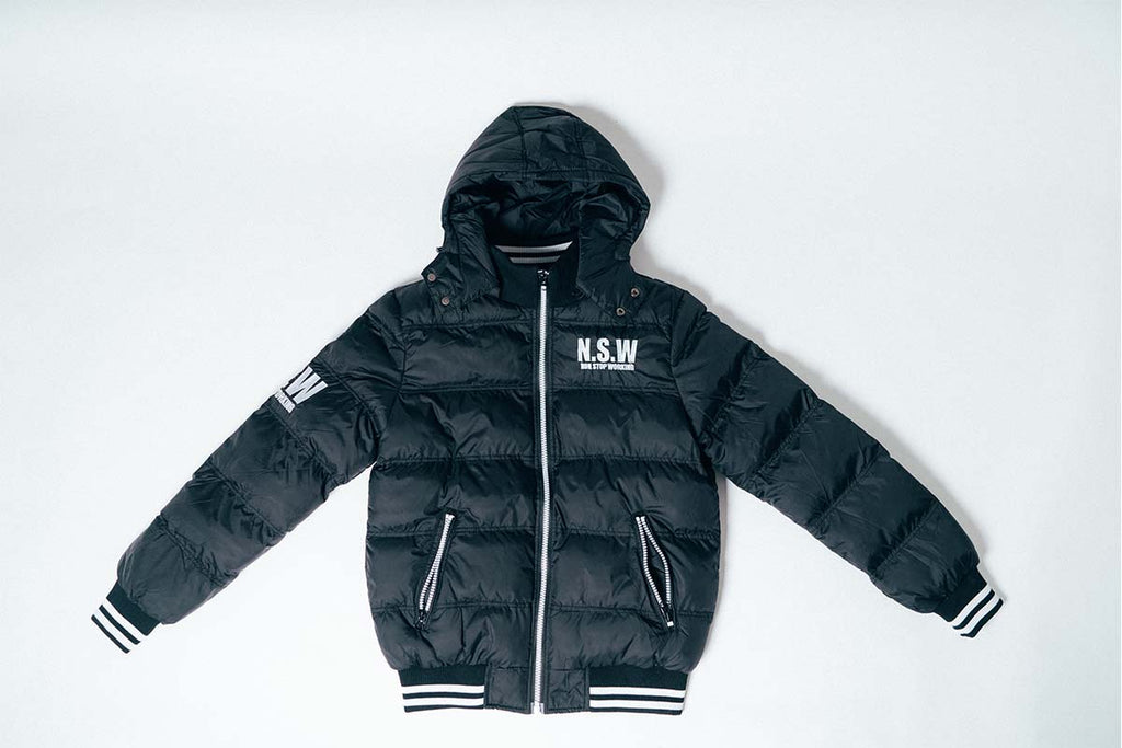 NON STOP WORKING BLACK SPORTS PUFFER JACKET
