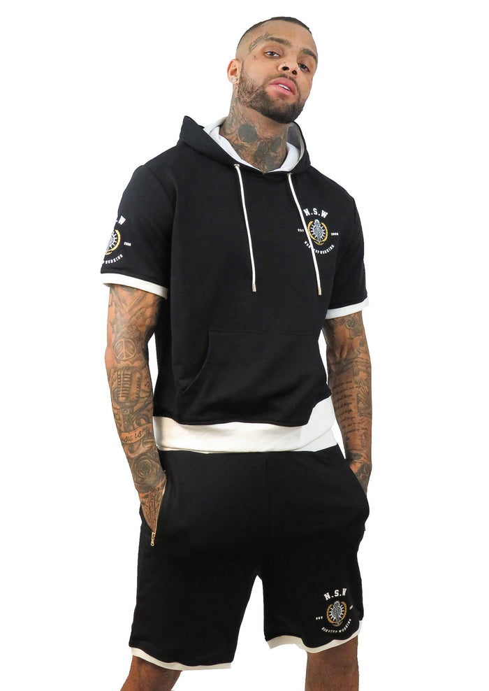 BLACK WITH WHITE TRIM SHORT SLEEVE HOODIE AND SHORTS SET
