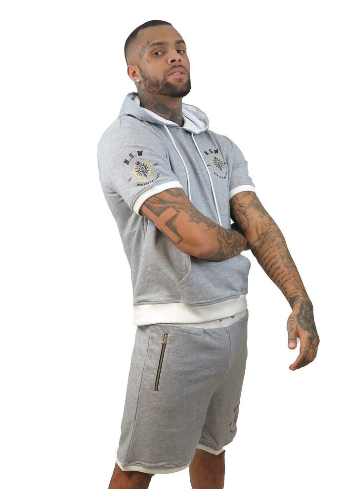 GREY WITH WHITE TRIM SHORT SLEEVE HOODIE AND SHORTS SET