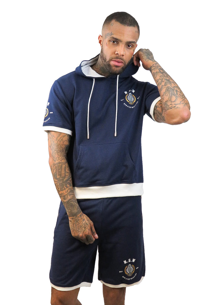 BLUE WITH WHITE TRIM SHORT SLEEVE HOODIE AND SHORTS SET