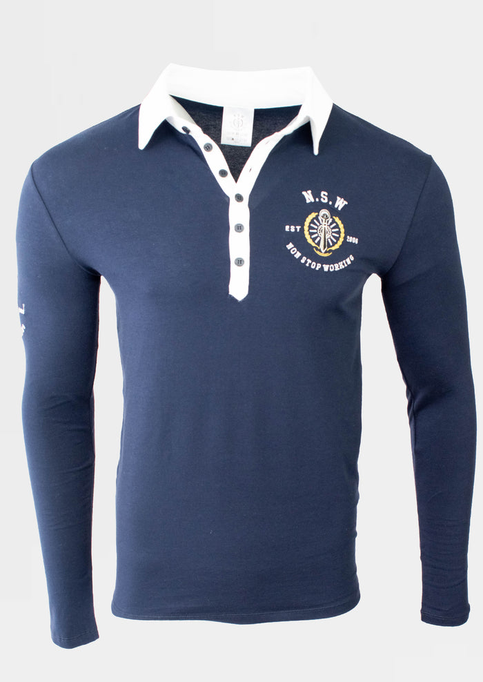 Navy Polo Long Sleeve T-Shirt