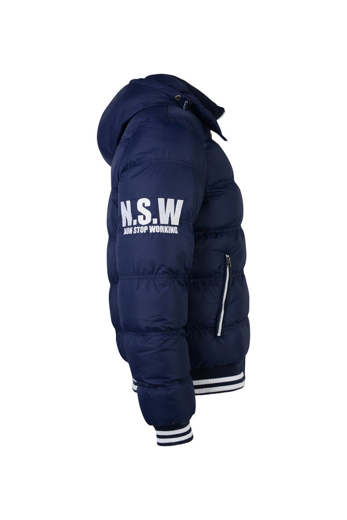 NON STOP WORKING ROYAL BLUE SPORTS PUFFER JACKET