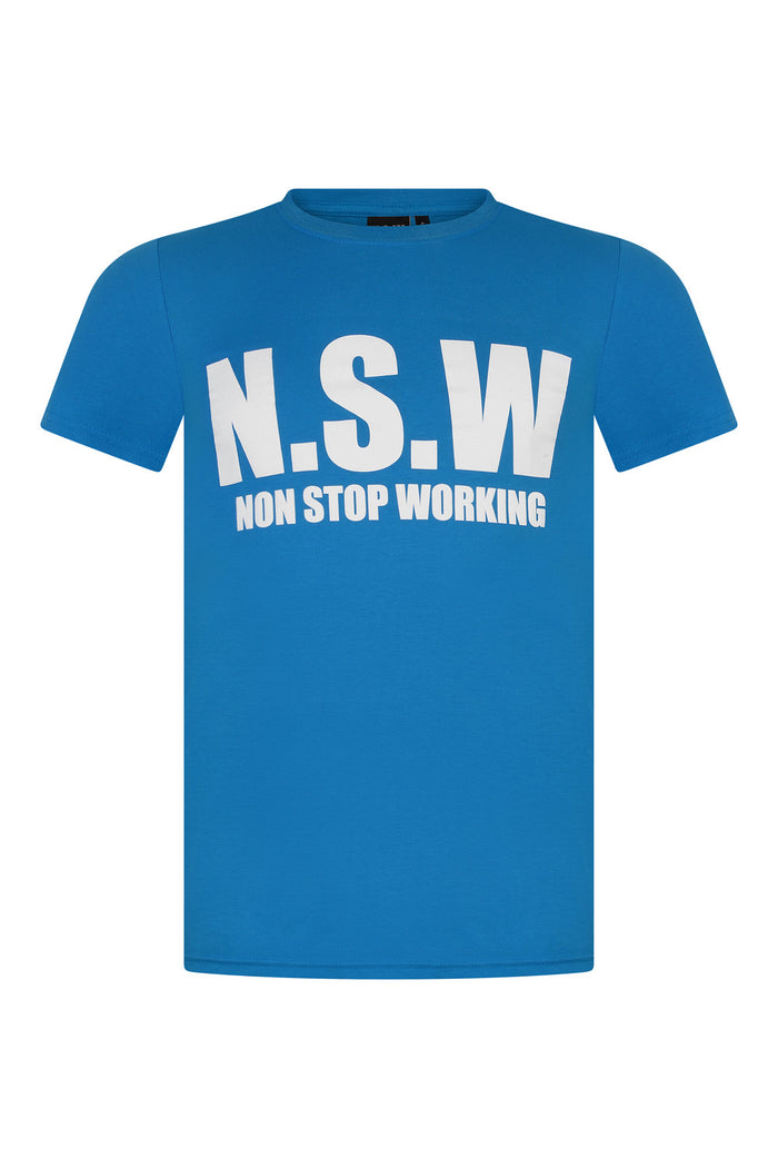 NON STOP WORKING BLUE T-SHIRT