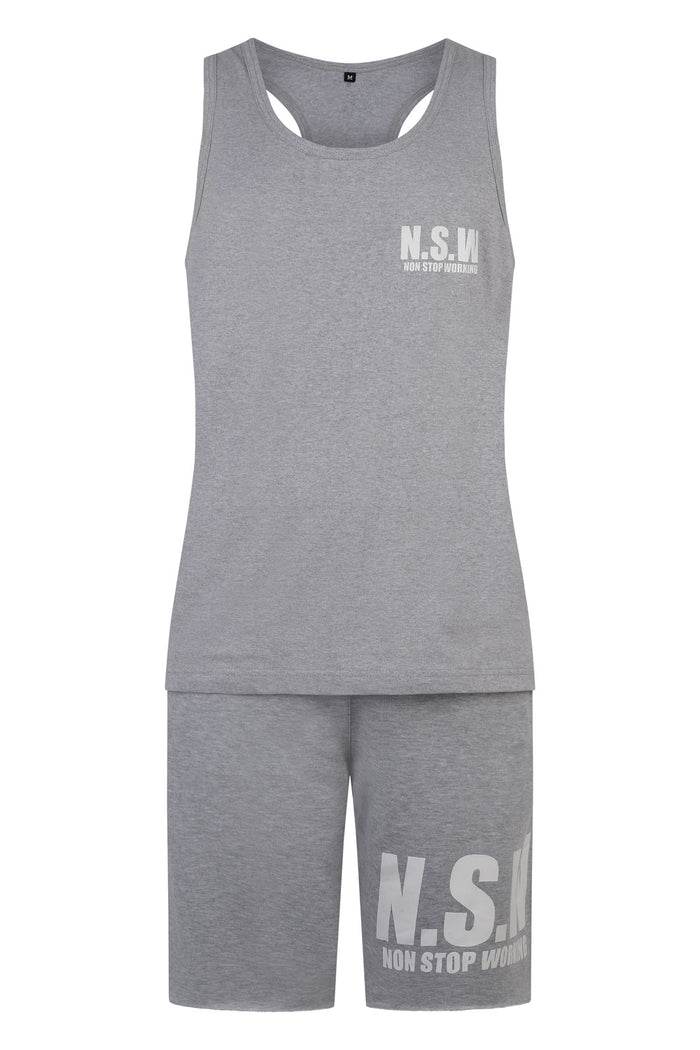 NON STOP WORKING GREY CLASSIC 24/7 365 VEST AND SHORTS SET (men's)