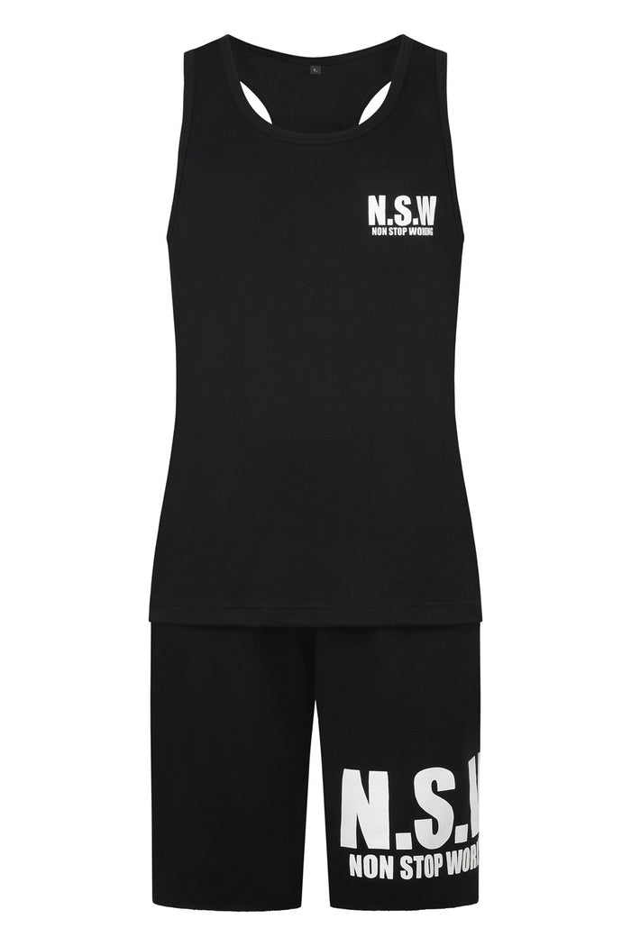 NON STOP WORKING BLACK CLASSIC 24/7 365 VEST AND SHORTS SET (men's)