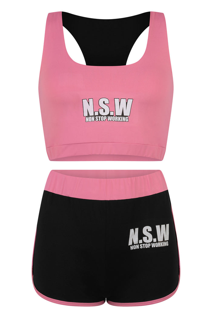 NON STOP WORKING PINK VEST & SHORTS SET