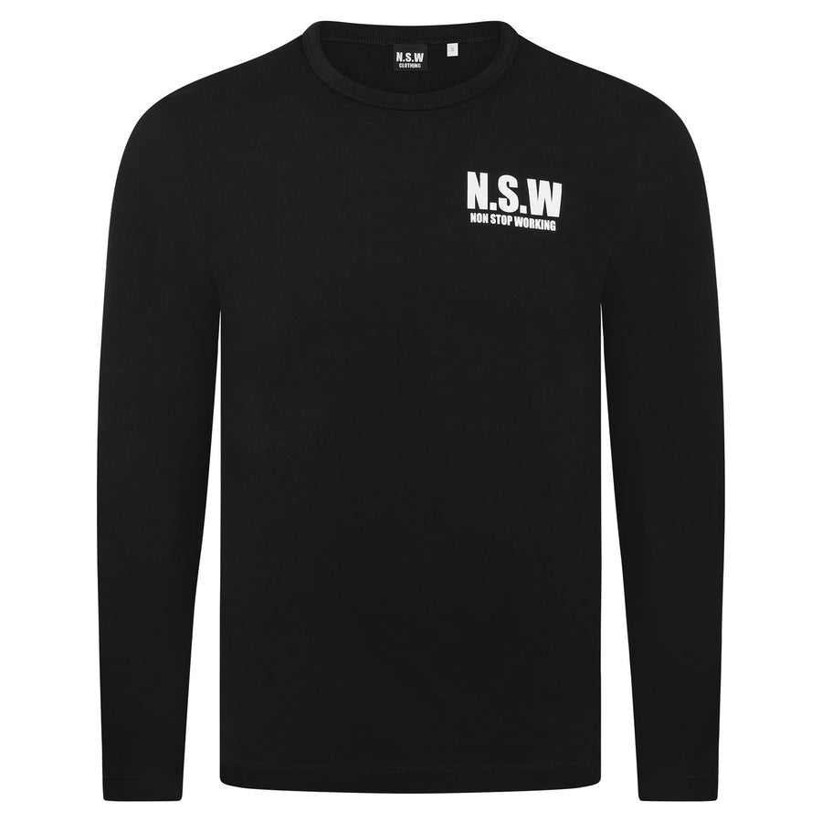 NON STOP WORKING BLACK LONG SLEEVE SWEATSHIRT
