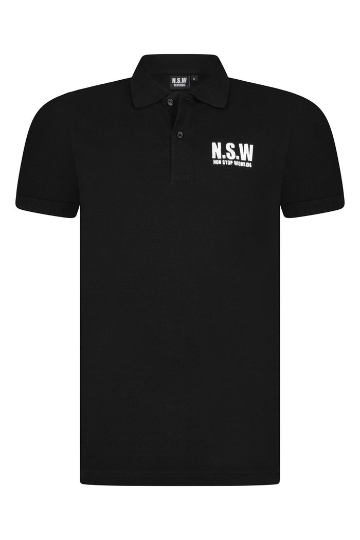 NON STOP WORKING BLACK POLO T-SHIRT