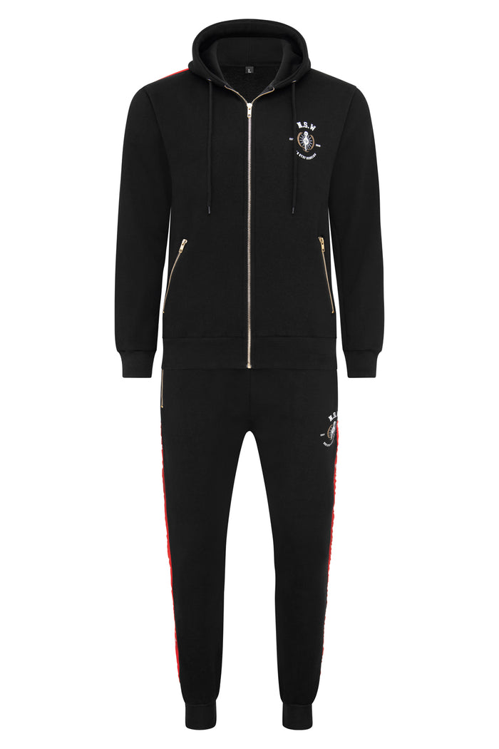 Black With Red Stripe Hoodie Tracksuit