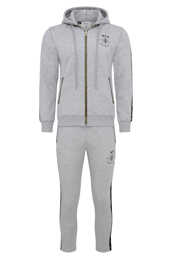 GREY WITH BLACK STRIPE HOODIE TRACKSUIT