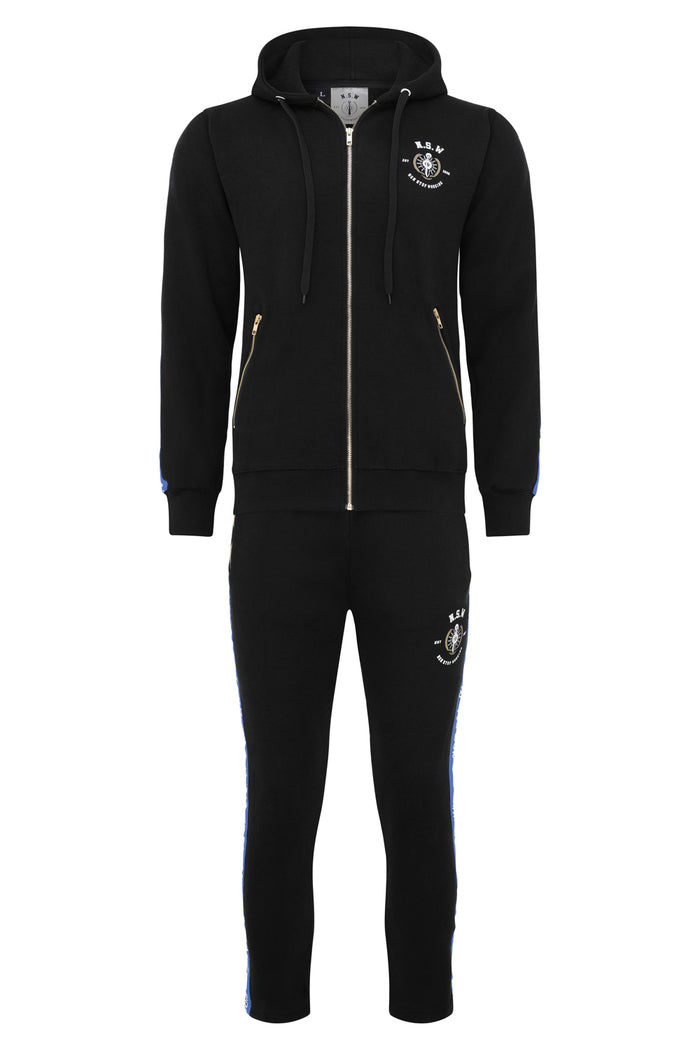 Black With Blue Stripe Hoodie Tracksuit