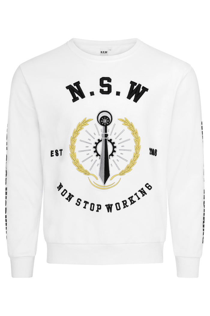 SIGNATURE EMBLEM WHITE SWEATSHIRT