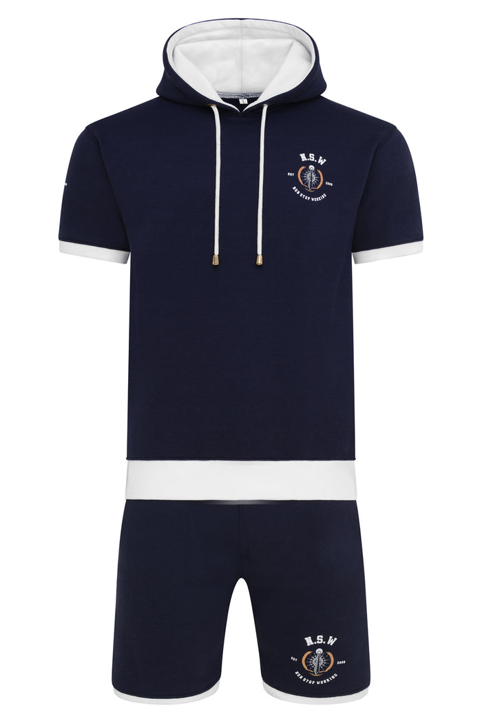 NON STOP WORKING NAVY BLUE SHORT SLEEVE HOODIE AND SHORTS SET