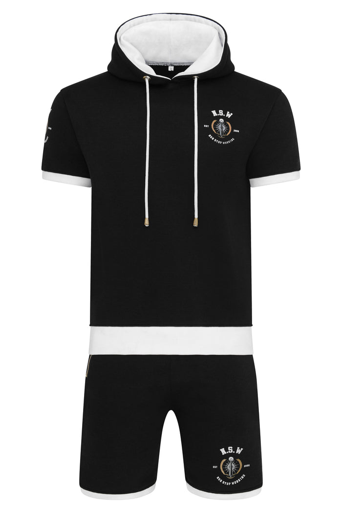 NON STOP WORKING BLACK SHORT SLEEVE HOODIE AND SHORTS SET
