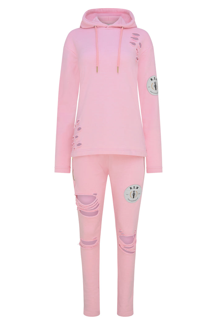 NON STOP WORKING RIPPED STYLE PINK TRACKSUIT