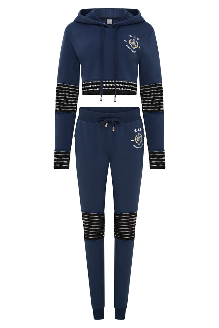 Women's Mesh Navy Tracksuit Set
