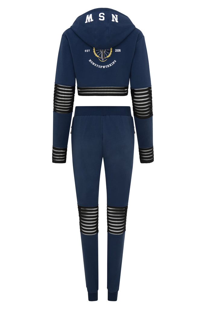 WOMENS MESH NAVY TRACKSUIT SET