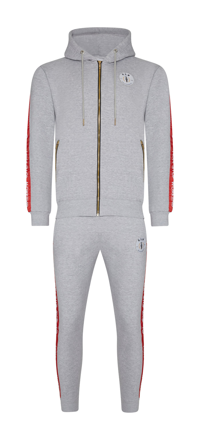 NON STOP WORKING RED STRIPE TRACKSUIT