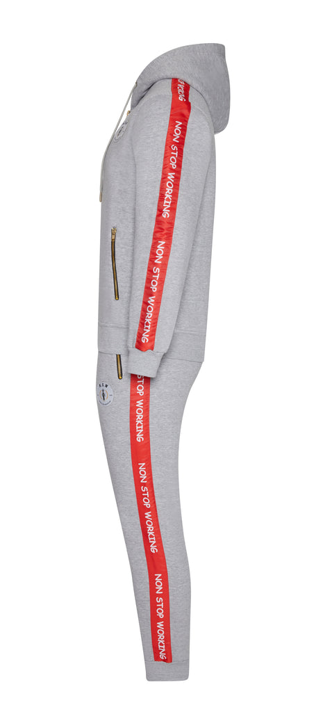 Grey With Red Stripe Hoodie Tracksuit