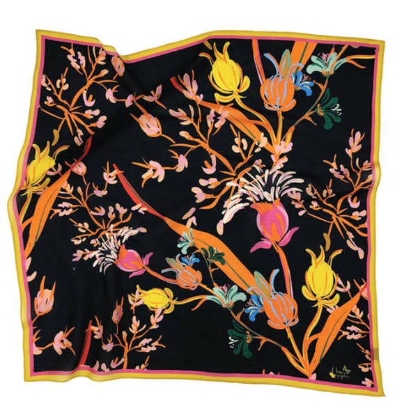"Chan Graphics Super Bloom Cotton Silk 26"" Square Scarf"