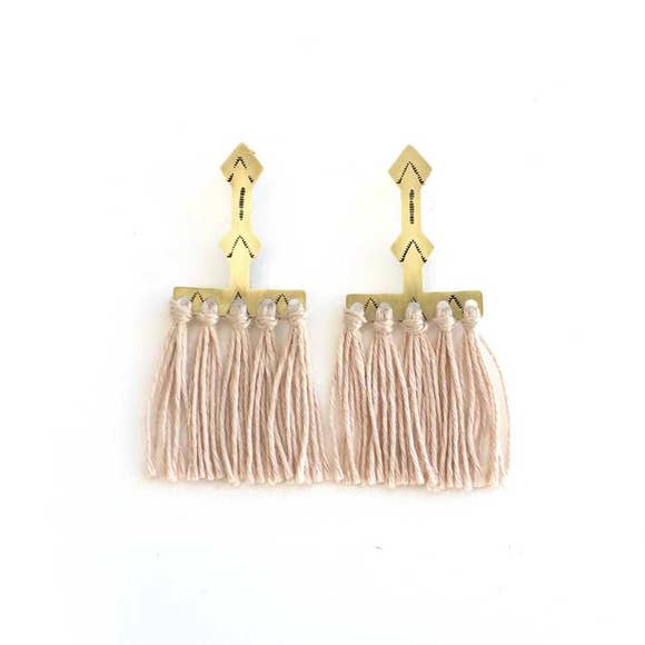 Lunasol Dusty Rose Southwind Tassel Earrings