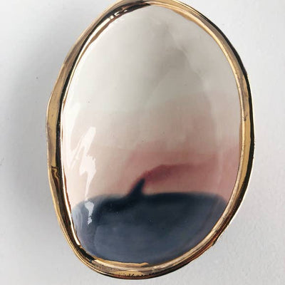 Karacotta Ceramics Abalone Jewerly Dish with 22K Gold