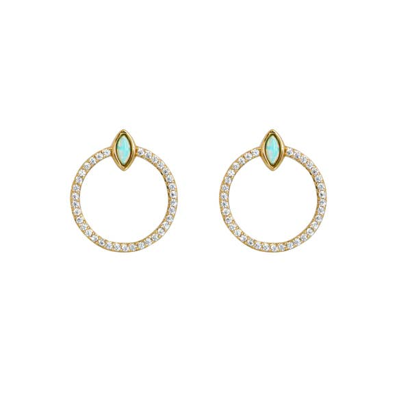 Elizabeth Stone Jewelry Aqua Opal Gemstone Eye & CZ Stud Earrings