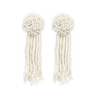 Koko and Lola White Seed Bead Drop Tassel Earrings