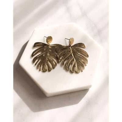 Pearl and Ivy Studio Brushed Brass Monstera Earrings