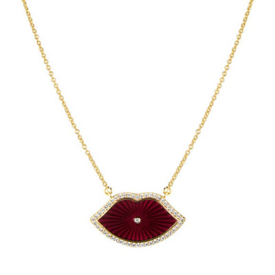 Elizabeth Stone Jewelry Enamel Lip Necklace