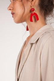 Pedrusco Red Ceramic Trinidad Earrings