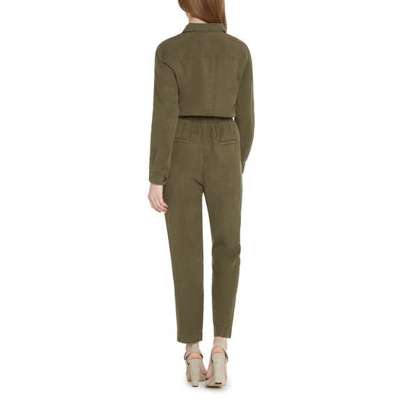 Willow Green Utility Jumpsuit with Front Zip