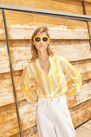 Teoh & Lea Yellow Striped Long Sleeve Blouse
