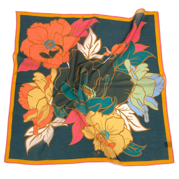 "Chan Graphics Bouquet Cotton Silk 26"" Square Scarf"