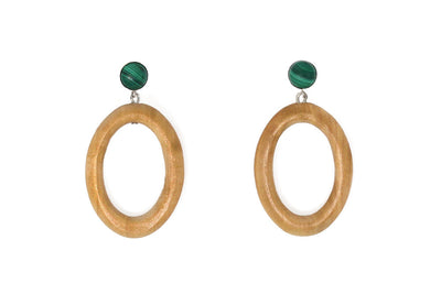 Sophie Monet Minimal Malachite Earrings