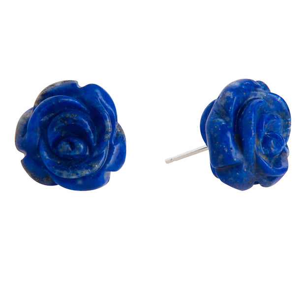 Bounkit Carved Lapis Flower Studs