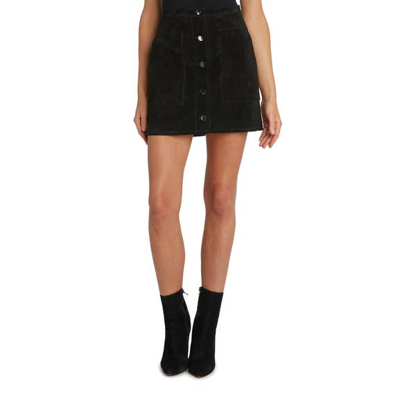 Willow Black Suede Button Front Mini Skirt