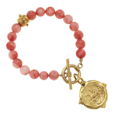 Susan Shaw Gold Equestrian Intaglio on Pink Coral Bracelet