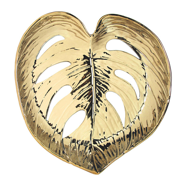 &klevering Small Gold Monstera Leaf Dish