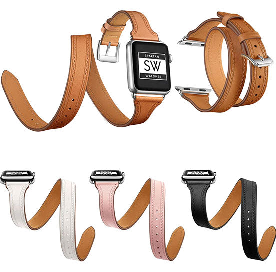 Double Tour Band for Apple Watch, Leather Bracelet Replacement Strap