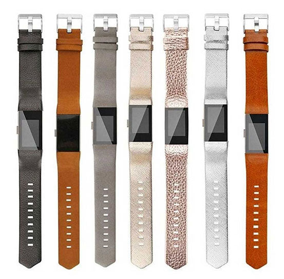 Leather Band for Fitbit Charge 2, Genuine Leather Bracelet Replacement Strap