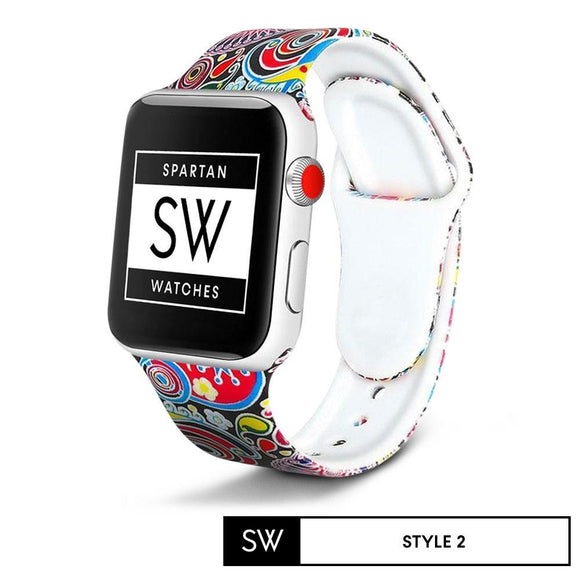 Watchband Store Design Print Band for Apple Watch Style 2 / 38mm | 40mm Design Print Silicone Band for Apple Watch