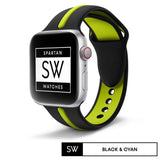 Watchband Store Dual-Tone Band For Apple Watch Black & Cyan / 38mm | 40mm Dual-Tone Silicone Band for Apple Watch