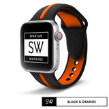Watchband Store Dual-Tone Band For Apple Watch Black & Orange / 38mm | 40mm Dual-Tone Silicone Band for Apple Watch